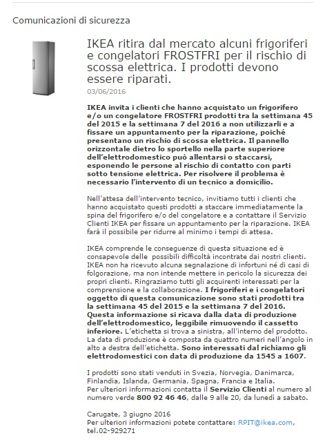 Ikea Ritira Frigo e Congelatori: Rischio Scossa Elettrica