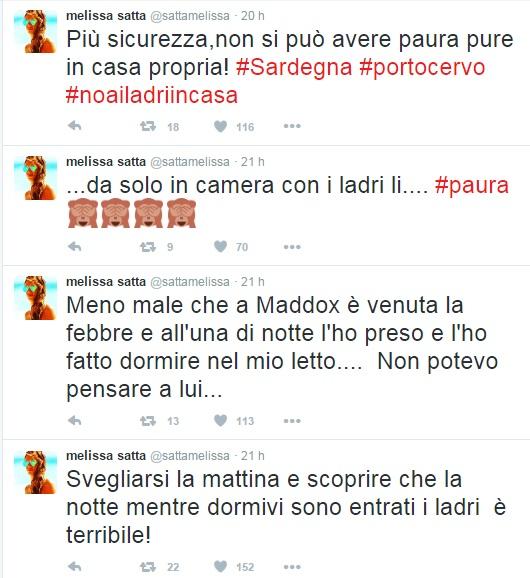 """Paura per Melissa Satta: """"Ladri in Casa nella Notte"""""""