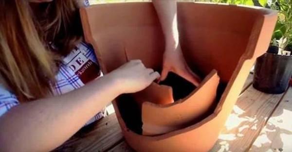 riciclo vaso rotto