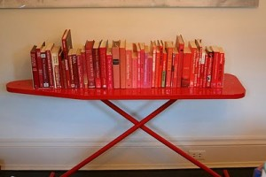 Book-Display-on-Red-Ironing-Board