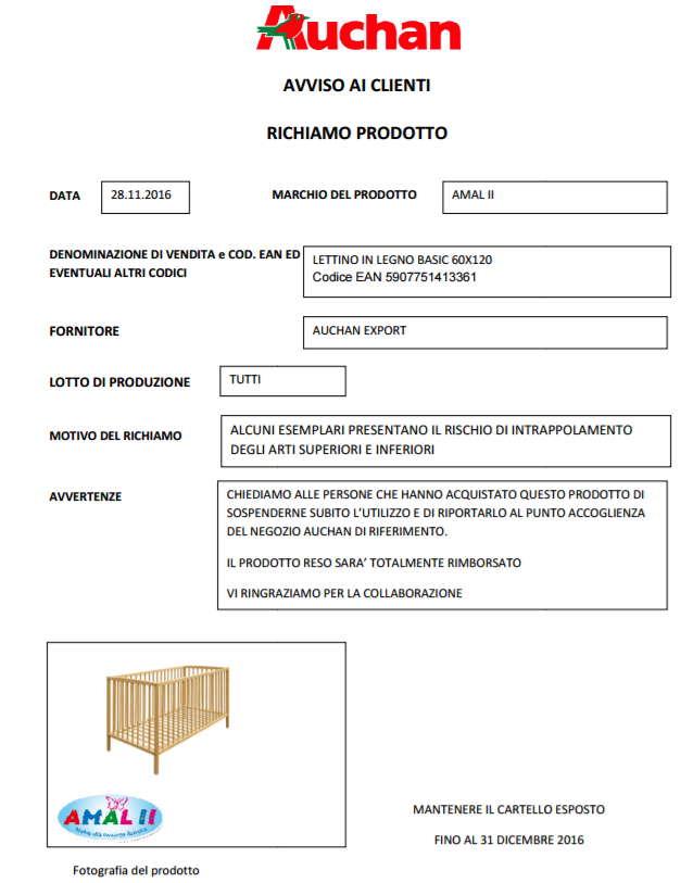 Auchan Ritira Lettino in Legno per Bambini