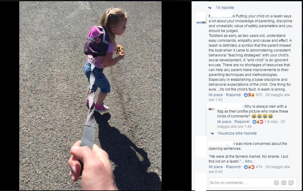 Porta la figlia al guinzaglio: lo sfogo di un papà