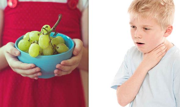 acini di uva e rischio soffocamento
