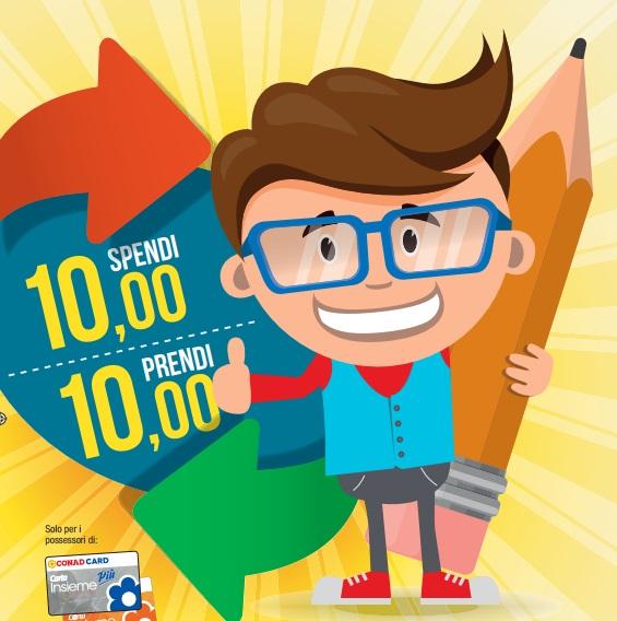 Buono spesa di 10 euro se acquisti materiale scolastico