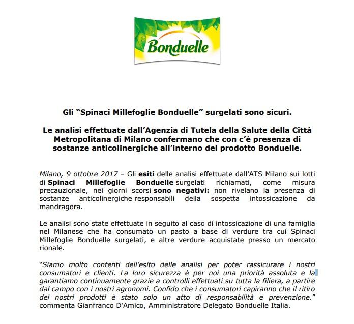 Spinaci surgelati Bonduelle: non c'è mandragora