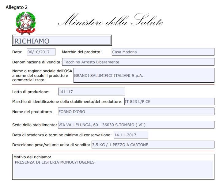 Listeria nel tacchino LiberaMente Casa Modena: richiamato