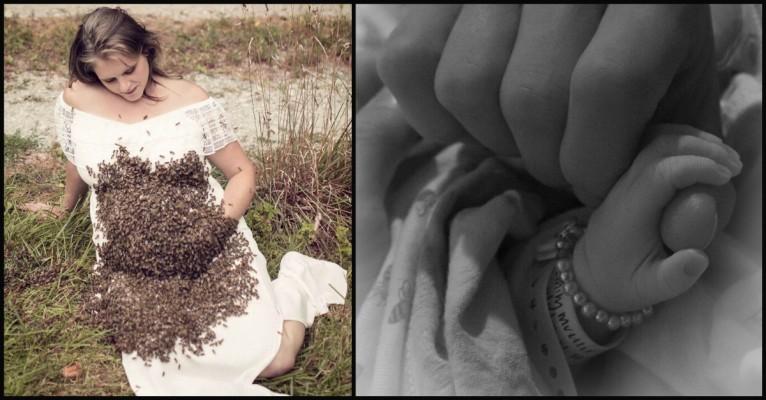 donna incinta col corpo ricoperto di api aborto