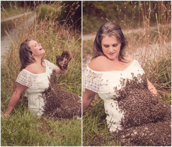 donna incinta col corpo ricoperto di api ha perso il bambino