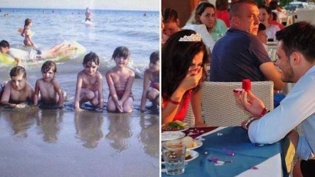 fidanzato scopre se stesso bambino in una foto di famiglia della fidanzata