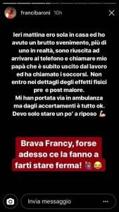 Francesca Barone ricoverata dopo un malore