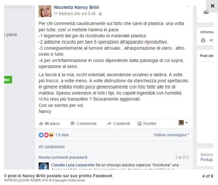 """Nancy Brilli su Facebook: """"La faccia è la mia"""""""