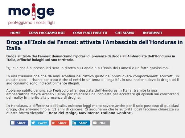 Moige contro Francesco Monte e L'Isola dei famosi