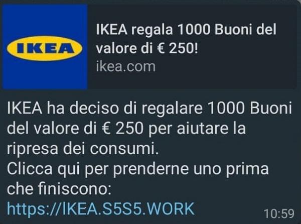 Buono IKEA da 250 euro su WhatsApp: attenzione alla truffa