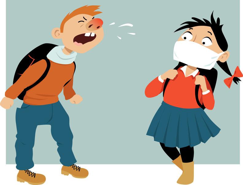 andare a scuola con il raffreddore